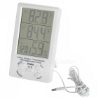 "TA298 4.4"" LCD Digital Indoor Outdoor Thermometer w/ Hygrometer, Alarm - White (1 x AAA)"