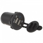 Car Motorcycle Water-Resistant Dual USB Charger w/ Blue LED - Black