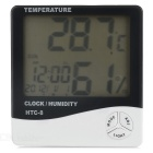"HTC-8 4"" LCD Indoor Household Thermometer Hygrometer w/ Alarm Clock, Light, Calendar (1 x AAA)"