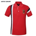 Lucky Sailing Men's Short-sleeved Polo Shirt - Red (L)