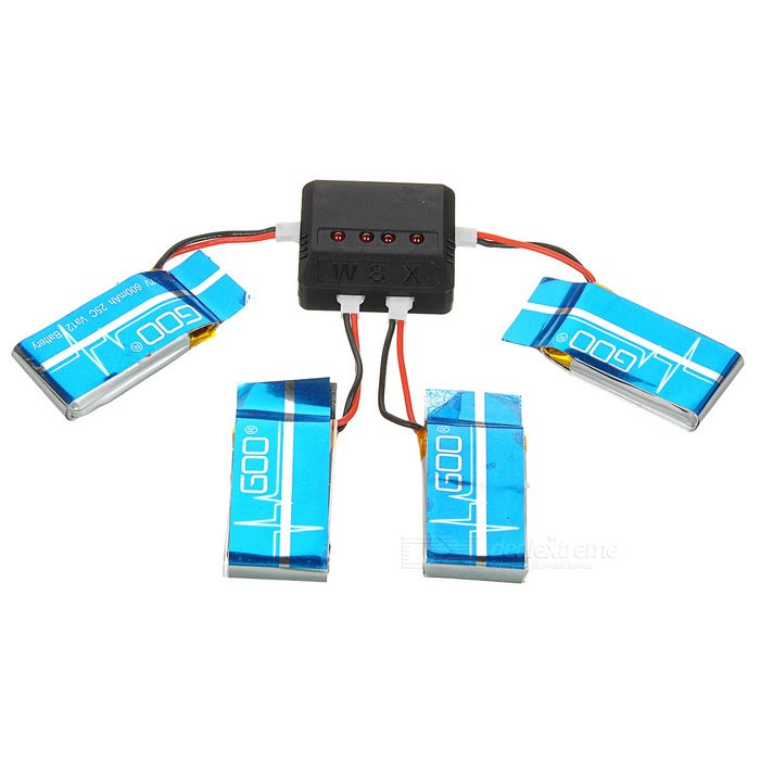 600mAh Battery + 1-to-4 Charger + Adapter + More Set - Blue + Black