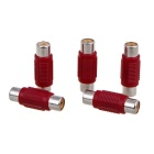 RCA Female to Female Single AV Cable Connector - Red + Silver (5PCS)