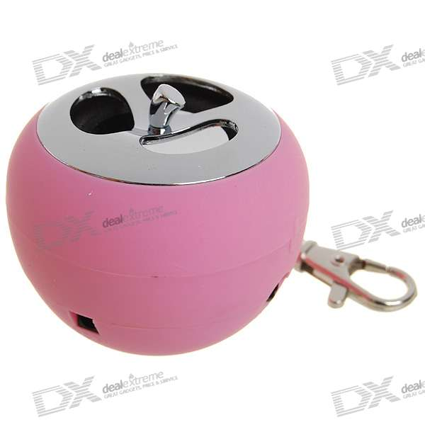 USB Rechargeable Apple Shaped LED Mini Speaker Keychain - Pink (3.5mm/DC 5V) - DXSpeakers <br>Ultra portable and lightweight speaker - Custom high quality speaker - Build-in 200mAh rechargeable li-ion battery - 3 hours working time when fully charged - Input: DC 5V - Output: 3W - Contains colorful LED light - Compatible with PC cellphone MP3/MP4 and all devices with standard 3.5mm audio plugs - Comes with a keychain a 3.5mm audio cable a USB charging cable and Chinese user manual<br>