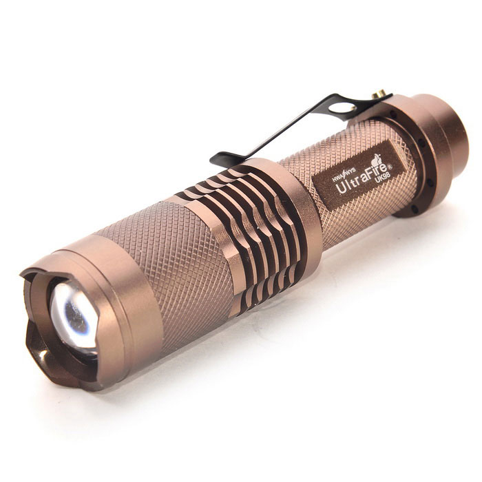 Ultrafire UK98 1-LED 900lm 5-Mode zoom lampe de poche outil marron