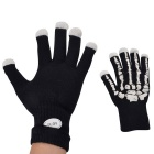 Men's Skeleton Style LED Luminous Cycling Riding Gloves - Black