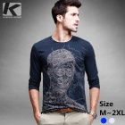 KUEGOU Men's Characters Printing Long-Sleeve T-Shirt - Sapphire Blue (M)