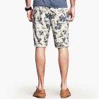 KUEGOU Men's Coconut Tree Pattern Cotton Casual Shorts - Grey (L)
