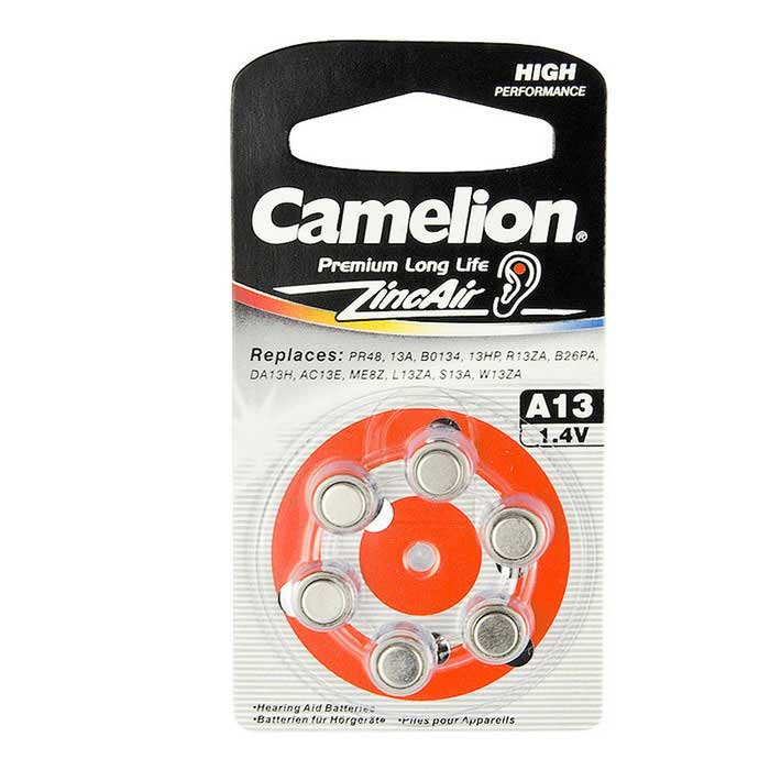 Camelion Zinc Air Hearing Aid Button Cell Size A13 (6 PCS)