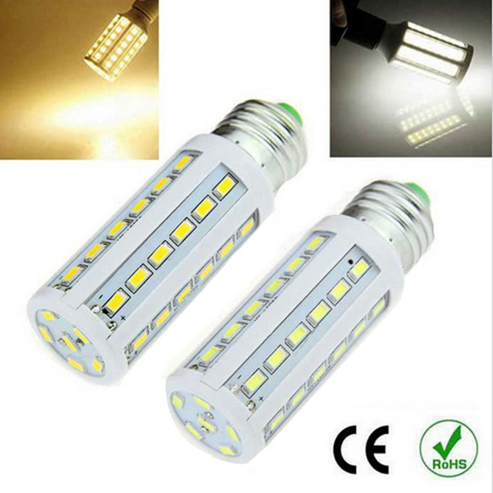 E27 8W 1500lm Warm White + Cold White LED Corn Bulbs (220~240V / 2PCS)E27<br>Form  ColorWhiteColor BINWarm white / cool whiteMaterialPlastic + aluminumQuantity2 DX.PCM.Model.AttributeModel.UnitPowerOthers,8WRated VoltageAC 220-240 DX.PCM.Model.AttributeModel.UnitConnector TypeE27Emitter TypeOthers,5630Total Emitters42Theoretical Lumens1800 DX.PCM.Model.AttributeModel.UnitActual Lumens1500 DX.PCM.Model.AttributeModel.UnitColor Temperature12000K,Others,(2800-3200 / 5500-6500K)DimmableNoBeam Angle360 DX.PCM.Model.AttributeModel.UnitCertificationCEPacking List2 x Lamps<br>