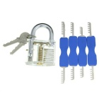 Slotted Practice Padlock w/ Double Heads Comb Style Stainless Steel Lock Pick