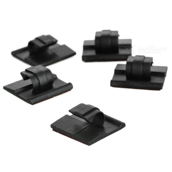 Car Wire Cable Clip Fixed Mount w/ Adhesive Tape - Black + Red (5PCS)