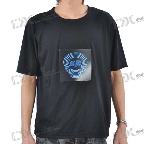 Sound and Music Activated Skeleton EL Visualizer T-shirt - XL (4*AAA) sound and music activated spectrum dj led visualizer t shirt black size l 2 x aaa
