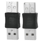 Portable USB 2.0 Male to USB 2.0 Male Adapters - Black + Silver (2 PCS)