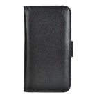 Wallet Style PU Leather Full Body PU Case Cover w/ Card Slots for Samsung Note 5 - Black