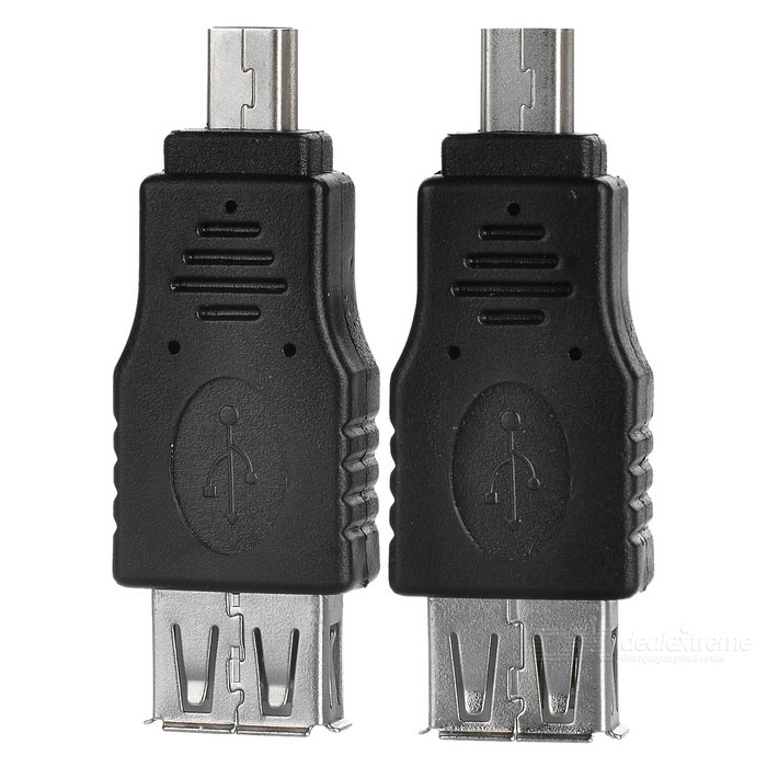 Portable USB 2.0 Female to 5-Pin Male Adapters - Black + Silver (2PCS)