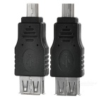 Portable USB 2.0 Female to 5-Pin Male Adapters - Black + Silver (2 PCS)