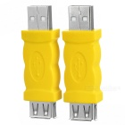 Portable USB 2.0 Male to USB 2.0 Female Adapters - Yellow + Silver (2 PCS)