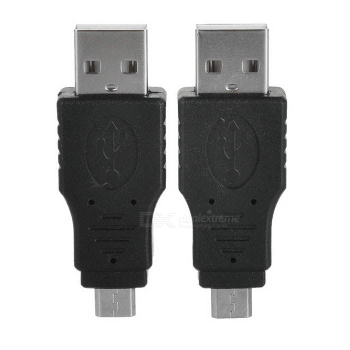 Portable USB 2.0 Male to Micro USB Male Adapters - Black (2PCS)