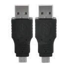 Portable USB 2.0 Male to Micro USB Male Adapters - Black (2 PCS)