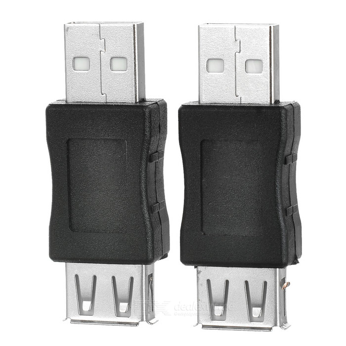 USB 2.0 Male to USB 2.0 Female Adapters - Black + Silver (2PCS)