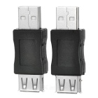 Portable USB 2.0 Male to USB 2.0 Female Adapters - Black + Silver (2 PCS)