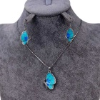 Women's Crystal Blue Butterfly Inlaid Alloy Necklace - Silver