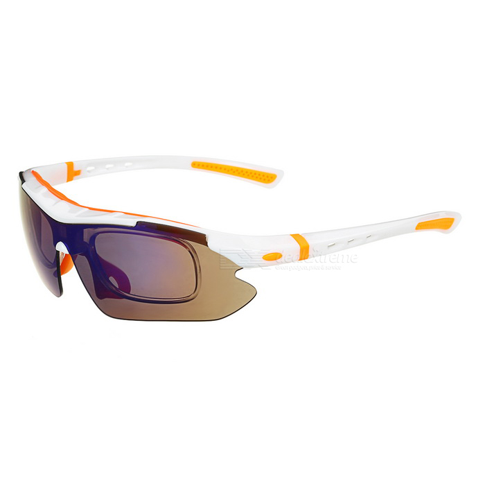 CTSmart Windproof Polarized Sunglasses Goggles - White + Orange
