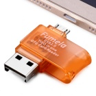 Rotary USB 2.0 to Micro USB OTG Adapter + TF Card Reader - Orange + Silver
