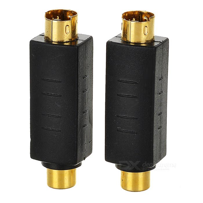 Portable S-Video to RCA Video Adapters - Black + Golden (2PCS)
