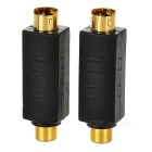 Portable S-Video to RCA Video Adapters - Black + Golden (2 PCS)