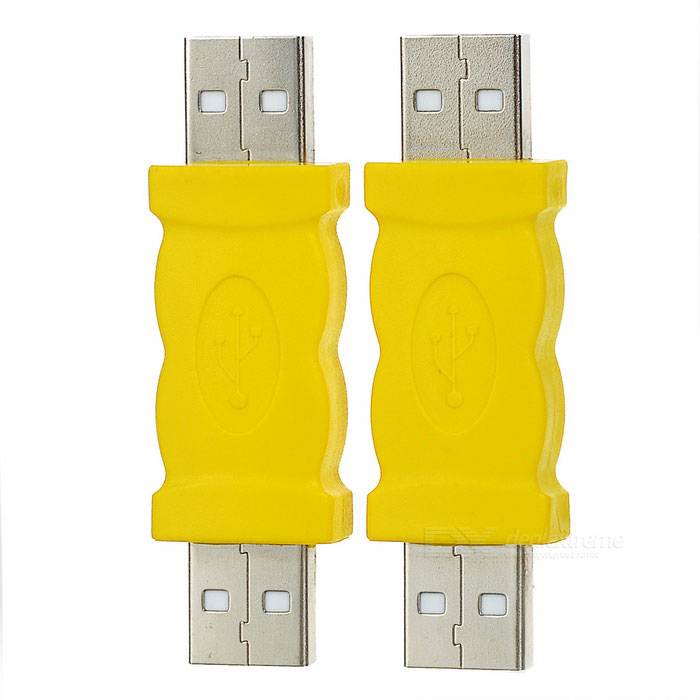 USB 2.0 Male to USB 2.0 Male Adapters - Yellow + Silver (2PCS)