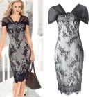 Women's Sexy V-neck Lace Pencil Dress - Grey + Black (XL)