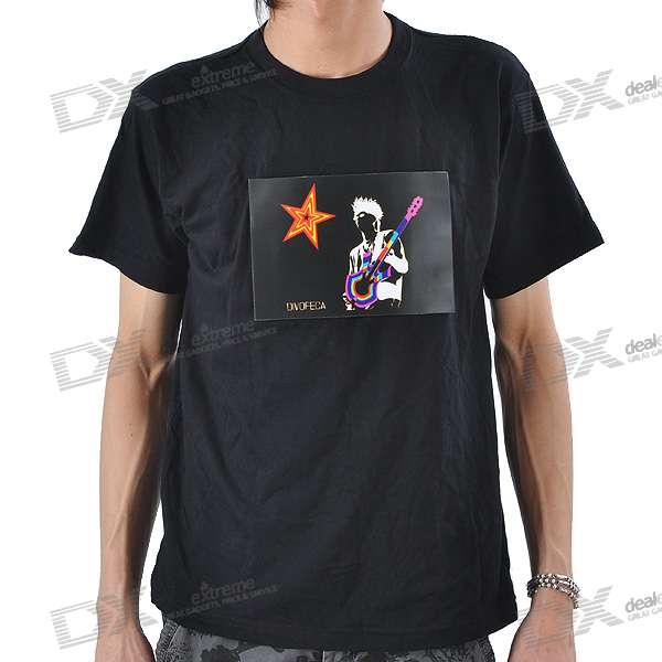 Sound and Music Activated Guitar Player Velcro EL Visualizer T-shirt - L (4*AAA) sound and music activated spectrum dj led visualizer t shirt black size l 2 x aaa