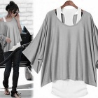 Women's Batwing Sleeve Loose T-Shirt & Vest Suit - Grey + White (XL)