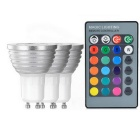 GU10 3W Remote Control RGB LED180lm Spotlight (3PCS / 85V~256 V)