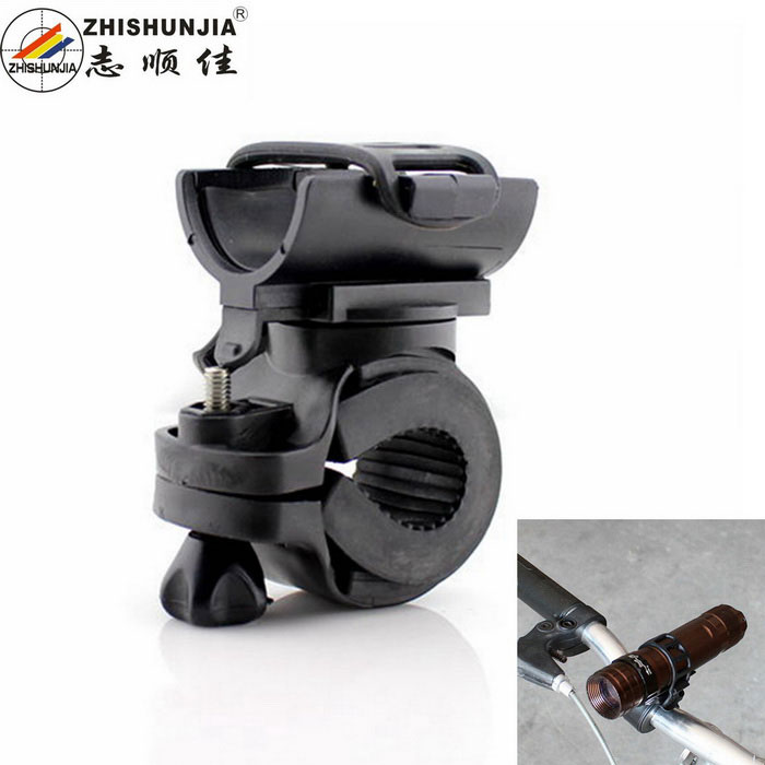 ZHISHUNJIA bicicleta de bicicleta lanterna Torch Mount Holder Clamp - preto