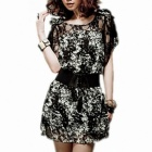 Fashion Lace Cut Out Round Short-sleeved Bow Chiffon Slim Dress - Black (S)