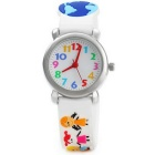 3D Cartoon Fashion Girl Holding Hands Silicone Band Quartz Analog Wrist Watch for Kids - White