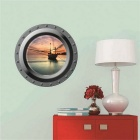 3D Submarine Sea Sunlight Removable PVC Home Wall Decal Sticker - Blue