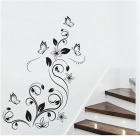 Mariposa y flores Desmontable PVC etiqueta de la pared Decal Sticker - Negro
