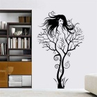 Creative Branch Girl Style PVC Home Wall Sticker Decal - Black