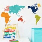 World Map PVC Home Wall Decal Sticker - Multicolored