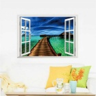 3D Beautiful Landscape PVC Wall Sticker Decal - Sapphire Blue