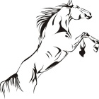 Creative Running Horse Style PVC Wall Sticker Decal - Black