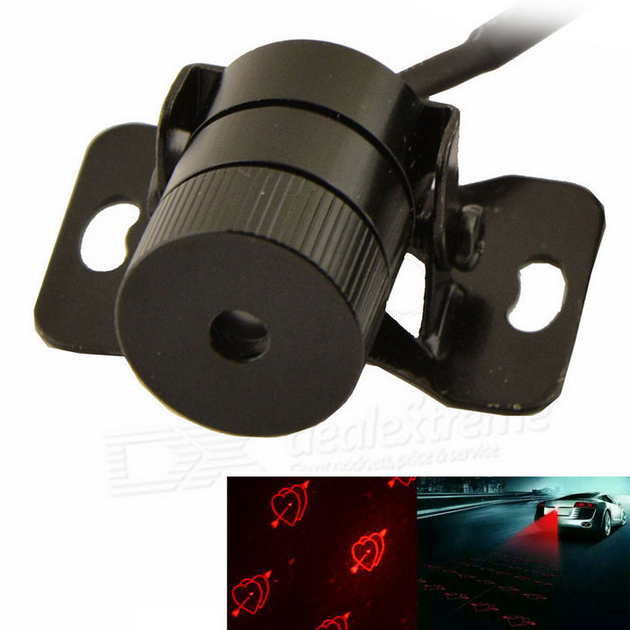 Car Heart Shape Laser Fog Lamp Anti-Collision Warning Light - Black