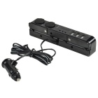 A410 Car Cigarette Sockets + 3-USB 2.0 Charger w/ LED Display - Black