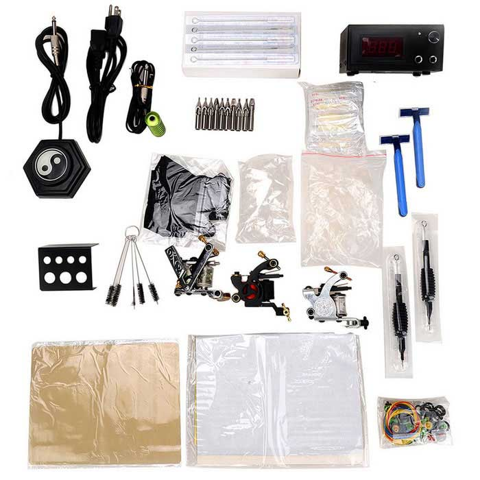 T03 Professional 3-Tattoo Kit Tattoo Machine + Accessories Kit - Black