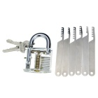 Slotted Practice Padlock + Comb Style Stainless Steel Lock Pick Tool Set - Transparent + Silver