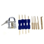 Slotted Practice Padlock + Single Hook Pick Tool + Comb Style Stainless Steel Lock Pick Set