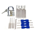 Slotted Practice Padlock + Single Hook Pick Tool + Double Heads Comb Style Lock Pick Set